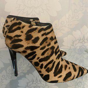 JIMMY CHOO Leopard Printed Pony Hair Ankle Boots/Booties w/Slim Heels